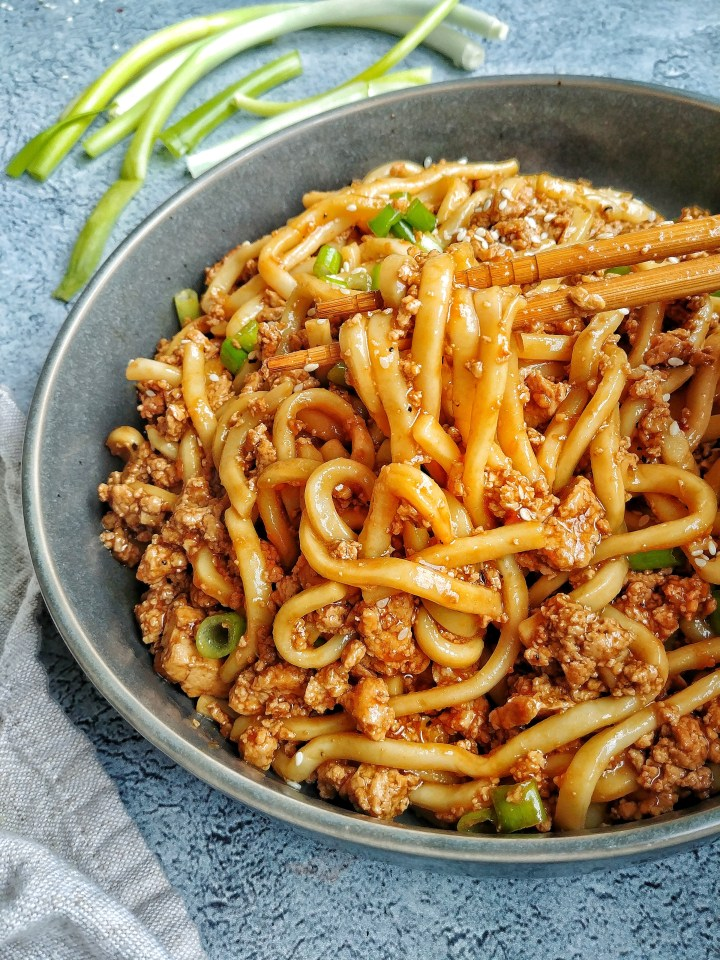 Vegan Stir Fried Udon Noodles With Scallions Munchmeals By Janet