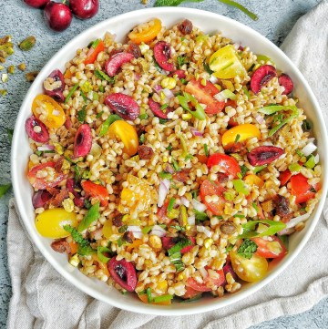 Cous Cous and Farro Salad with Cherries and Fresh Herbs