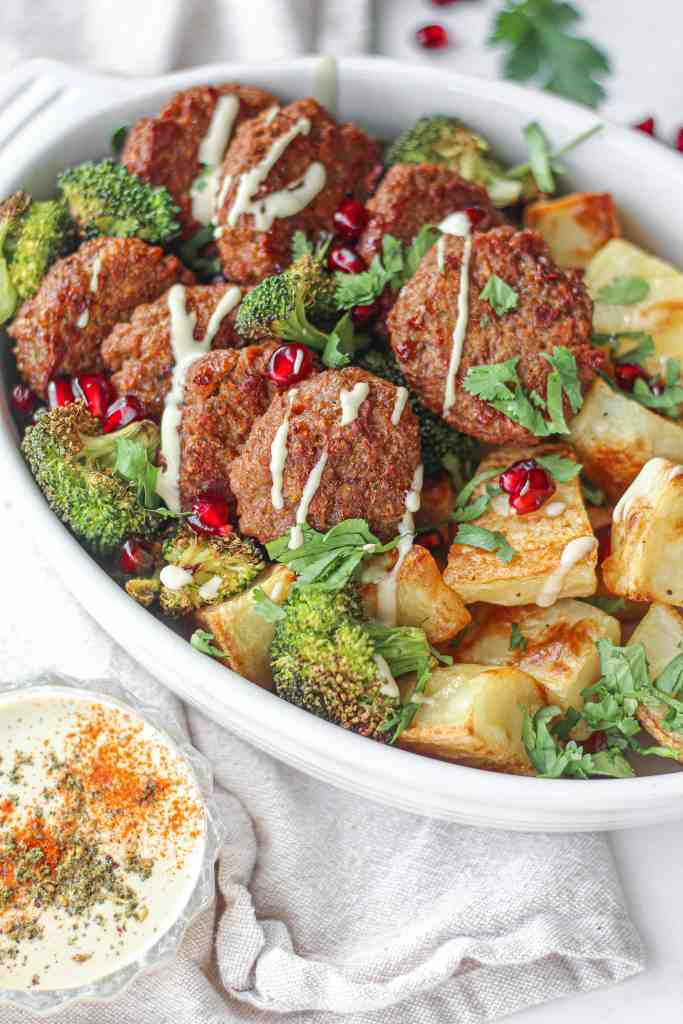 Spiced Vegan Patties with Crispy Potatoes