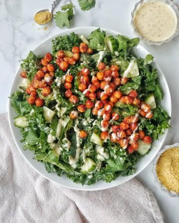 BBQ Ranch Chickpea Kale Salad
