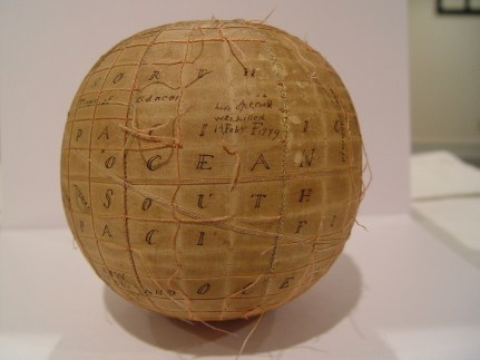 Silk globe made in 1816.
