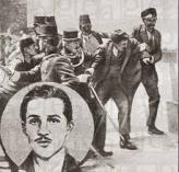El magnicida sebio Gavrilo Princip en el momento de ser detenido