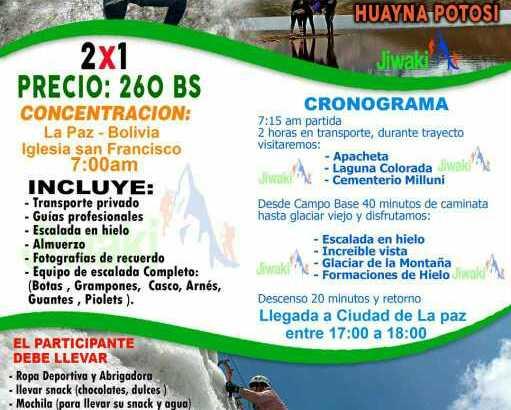 paquete Huayna Potosi escalada en Hielo precio 2×1