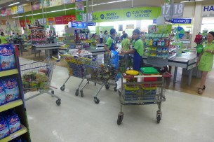 one half of the food shopping...23 people for 6 month..only fruit are bought fresh