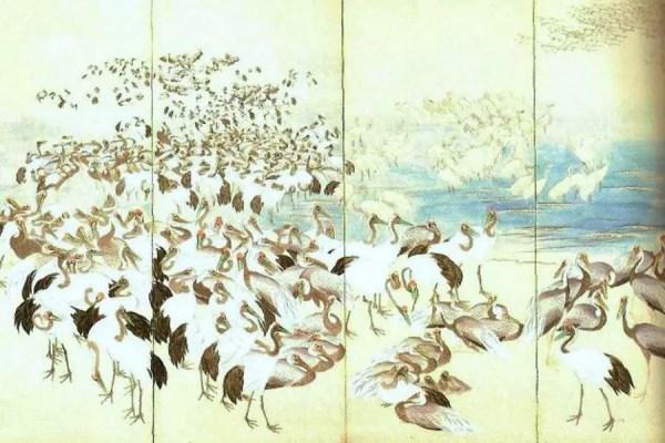 """""""Mil Tsurus"""", obra do artista Jakuchu Masanori (Foto: Reproduação/Museu Nacional de Tóquio)"""