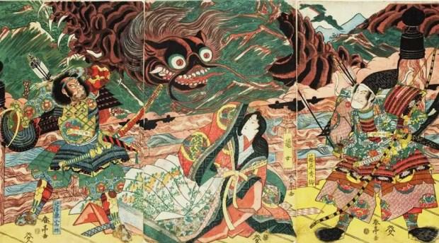 Hidesato e a Centopeia Gigante - obra dos artista japonês Katsukawa Shuntei - datada entre 1815-1820 (Foto: Aflo Images/Museu Nacional de Tóquio)