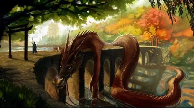 Hidesato encontra o Rei Dragão deitado na ponte sobre o Lago Biwa - Arte de Arief Yapinus (Foto: AsianWikimedia)