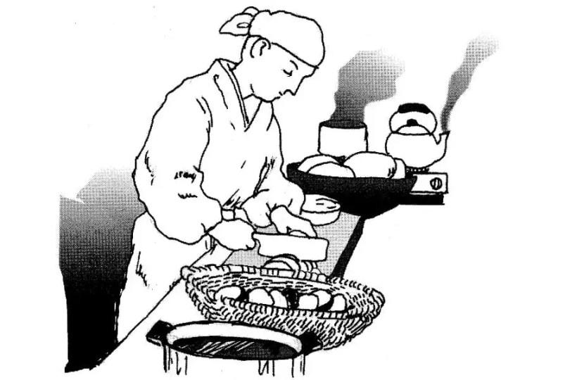Mokuen prepara um grande banquete em homenagem à sua falecida mãe | Foto: Mundo-Nipo / Livro Japan Dictionary Culture and Civilization