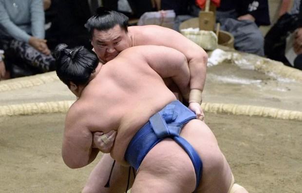 Hakuho derrota Kotoshogiku no 12º dia do Torneio de Sumô de Ano Novo 2015 (Foto: Kyodo)