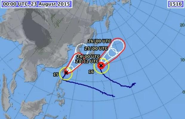 Localização dos tufões Goni e Atsani (Imagem: Reprodução/JMA)
