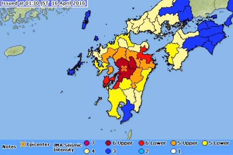 Terremoto de magnitude 7,1 atinge a região sul do Japão em 14/04/2016 (Imagem: Reprodução/JMA)