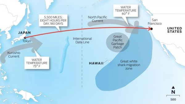 Mapa do percurso que Lecomte vai nadar desde o Japão até os EUA | Foto: Divulgação