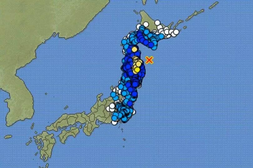 Mapa do terremoto de 6,3 na costa de Aomori em 21/12/2020 | Foto: JMA