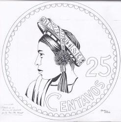 Diseño realizado por Ovidio Villeda que hasta hoy se conserva de la moneda de 25 centavos.