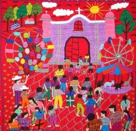 Artesanias de Guatemala,Cuadros bordados de San Andrés Semetabaj, Atitlán - Foto por Amigo Atitlán