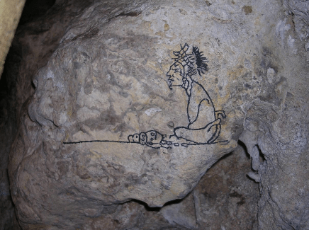 Naj Tunich glyfo1 - Cueva Naj Tunich, Petroglifos Mayas - La Casa de Piedra