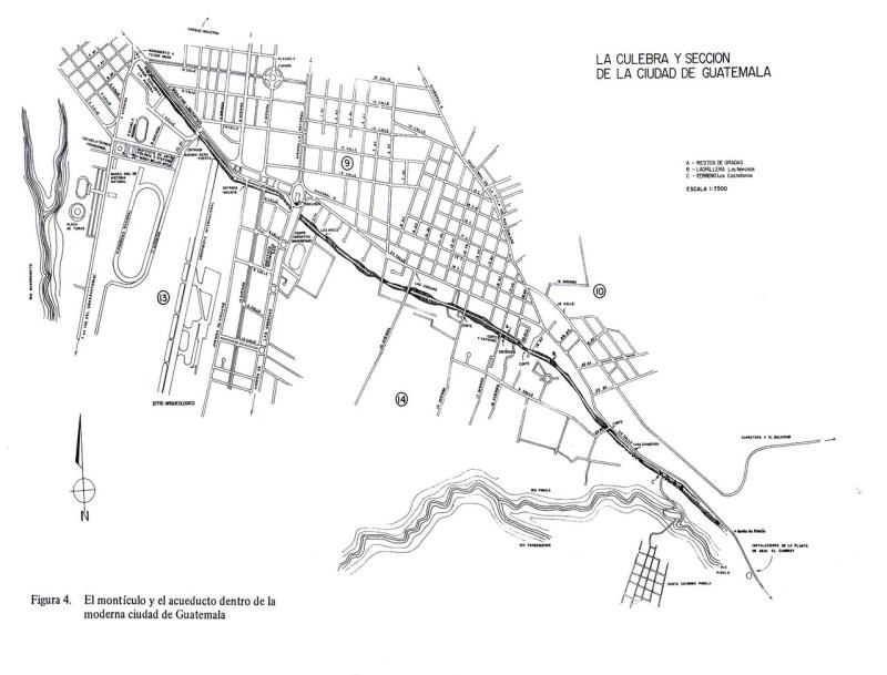 La Culebra y la Sección de la Ciudad de Guatemala - Montículo la Culebra y Acueducto de Pinula