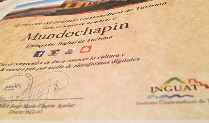 diploma embajador digital 1 - MundoChapin.com nombrado Embajador Digital de Turismo 2016