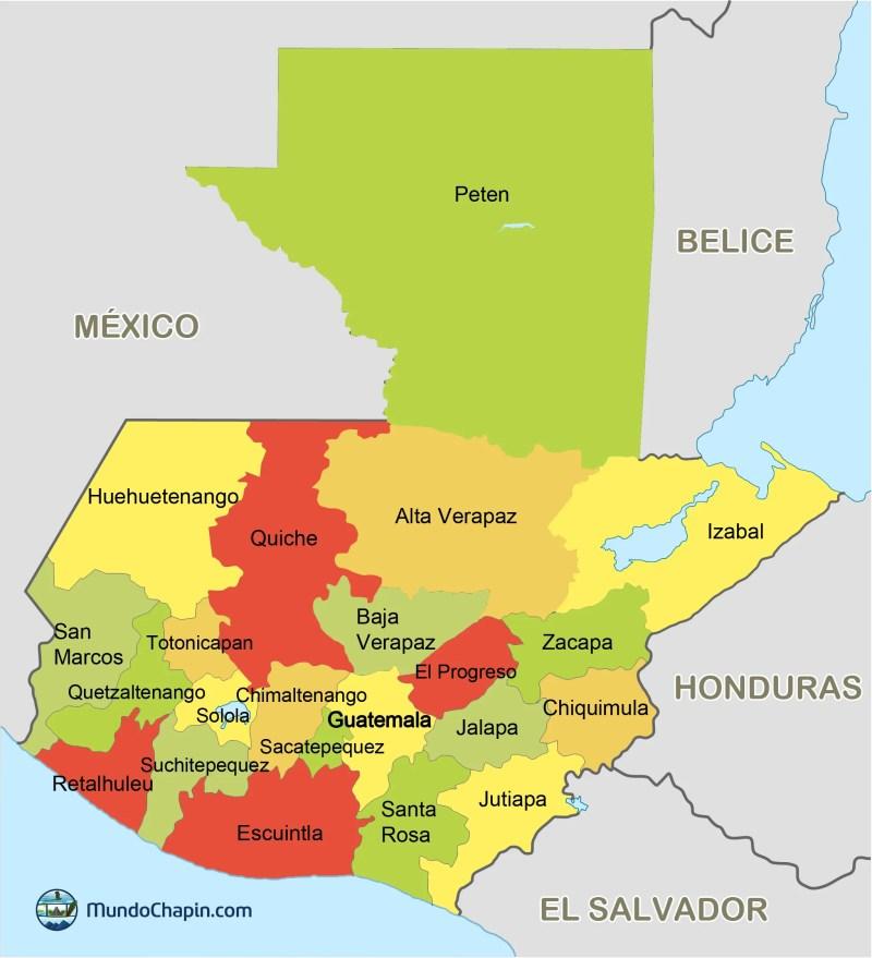 departamentos de guatemala mundochapin 932x1024 - Mapa de la República de Guatemala (color)