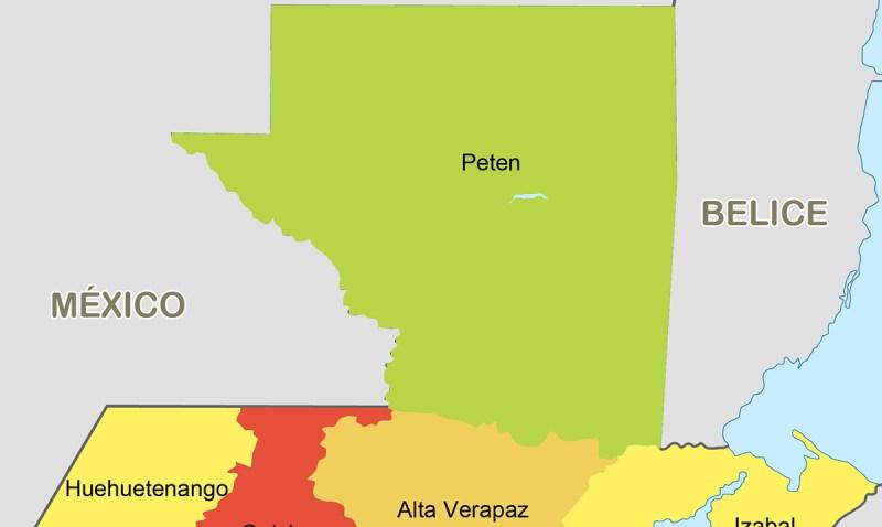 Mapa de la República de Guatemala (color)