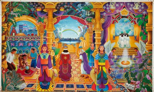 """Templo Sacrosanto por Pablo Amaringo. Aparece no livro """"The Ayahuasca Visions of Pablo Amaringo"""" (""""As visões de Ayahuasca de Pablo Amaringo"""") por Howard G. Charing."""