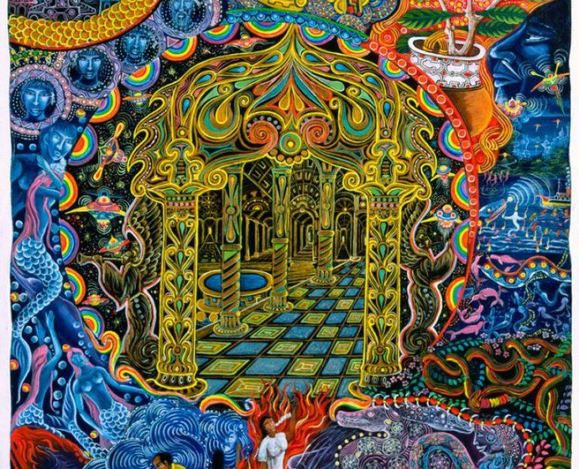 """Pagoda Dorada por Pablo Amaringo. Aparece no livro """"The Ayahuasca Visions of Pablo Amaringo"""" (""""As visões de Ayahuasca de Pablo Amaringo"""") por Howard G. Charing."""
