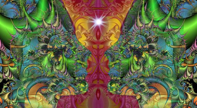 Uma renderização artística da experiência psicodélica. Cientistas dizem que o LSD tem efeitos psicológicos paradoxais.