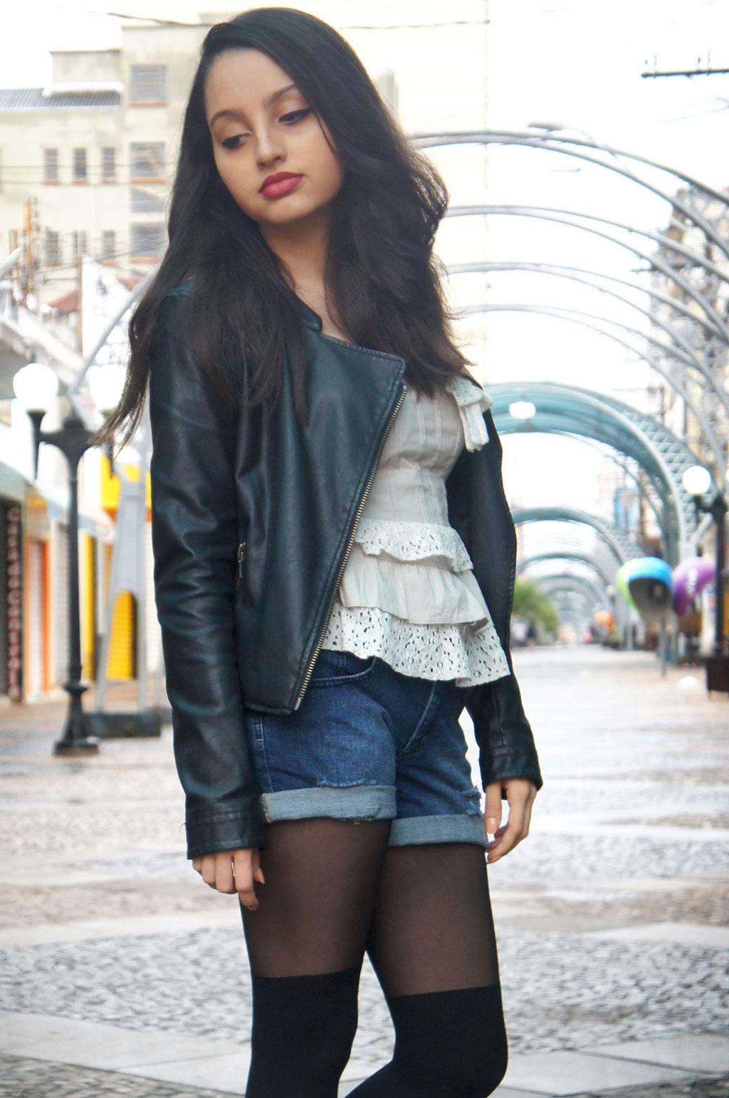 Look Rocker Jaqueta Short Jeans
