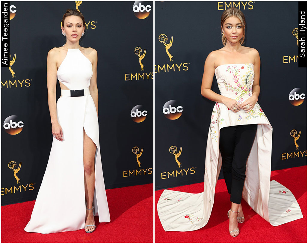 Red Carpet Emmys 2016 Sarah Hyland Aimee Teegarden