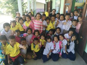O-Nut is pictured front and center, next to the girl in the pink jacket at Kok Khong school