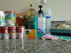 image of food, oil, water, gloves, masks, santizer, and soap