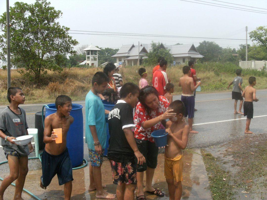 songkran in the village thailand