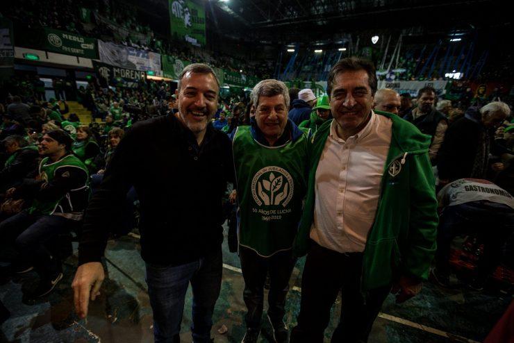 Godoy, junto a su compañero de fórmula Rodolfo Aguiar y al histórico dirigente de ATE Víctor De Gennaro