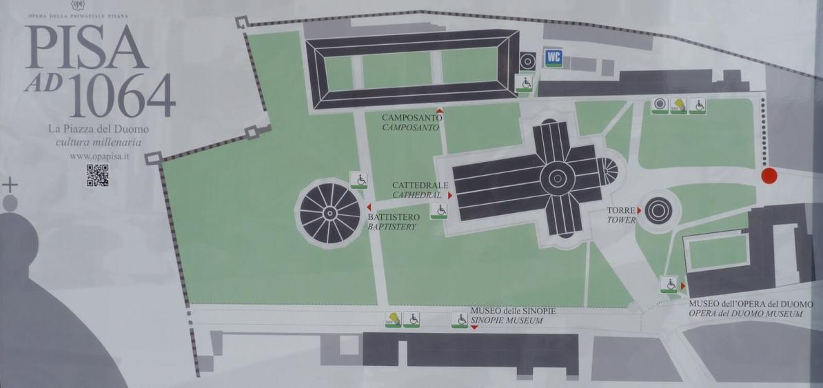 Mapa Piazza del Duomo Pisa Itália Mundo Indefinido