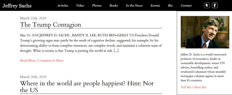 El sitio web de Jeffrey Sachs