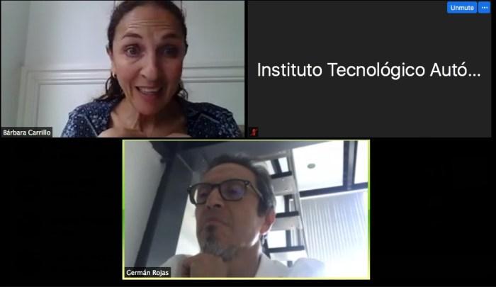 Mtra. Bárbara Carrillo y Dr. Germán Rojas, director del programa de Licenciatura en Economía
