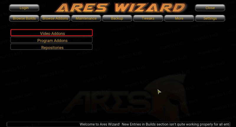AdryanList con Ares Wizard. 1 video addons