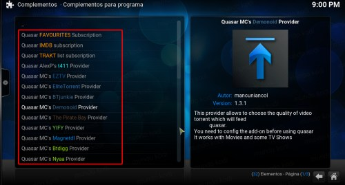 quasar en kodi. 13 proveedores quasar