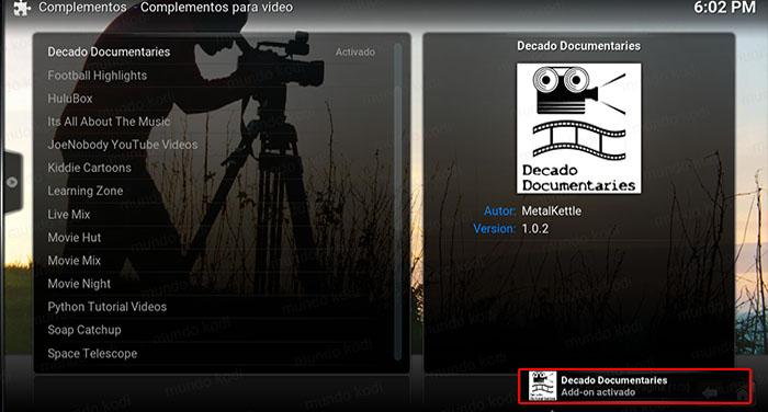 decado documentaries en kodi addon activado