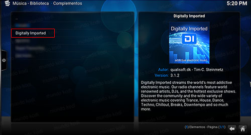 addon digitally imported en kodi