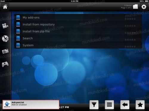 Instalar Kodi en iPhone, iPad y iPod 23-addon-activado