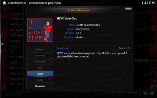 addon hevc videoclub en kodi