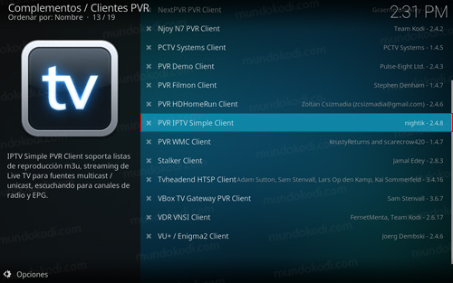 PVR Simple Client en Kodi 17 Krypton
