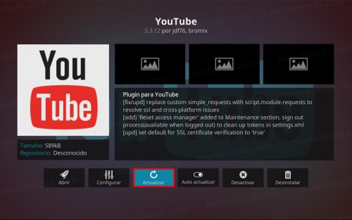 addon youtube en kodi