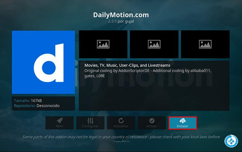 addon dailymotion in kodi