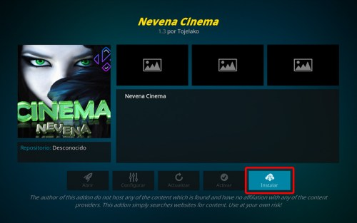 Addon Nevena Cinema en Kodi
