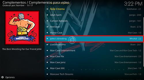 addon Johkis Wrestling en Kodi