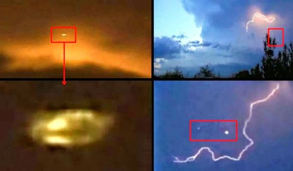 Orbes iluminados por relámpagos de tormenta en Clarksville