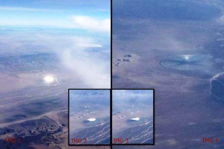 Disco inusual en el desierto de Nevada arrojando luces y objetos al aire