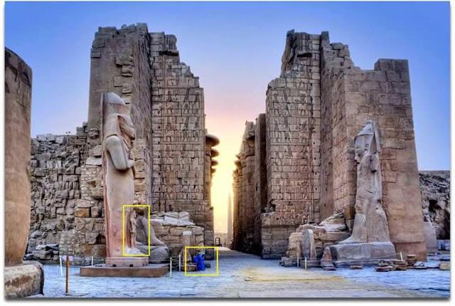 Ancestrales y colosales estatuas de dioses en Egipto, evidencia de gigantes en la antigüedad.